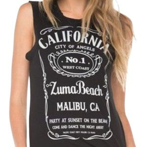 Brandy Melville Black Graphic Muscle Tank Top